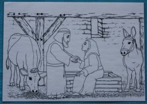 Maria und Josef im Stall (1)
